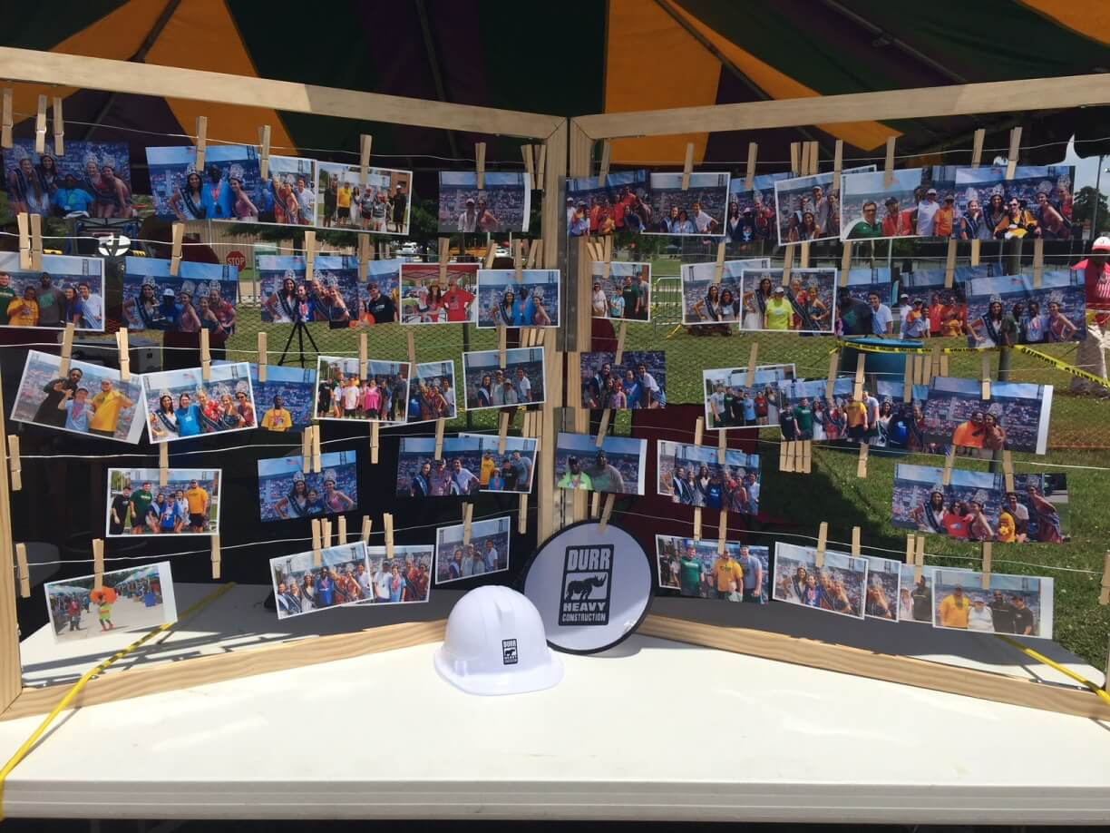 A photo board of pictures from the event