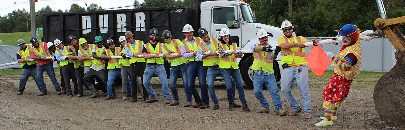 Durr workers in a tug-of-war