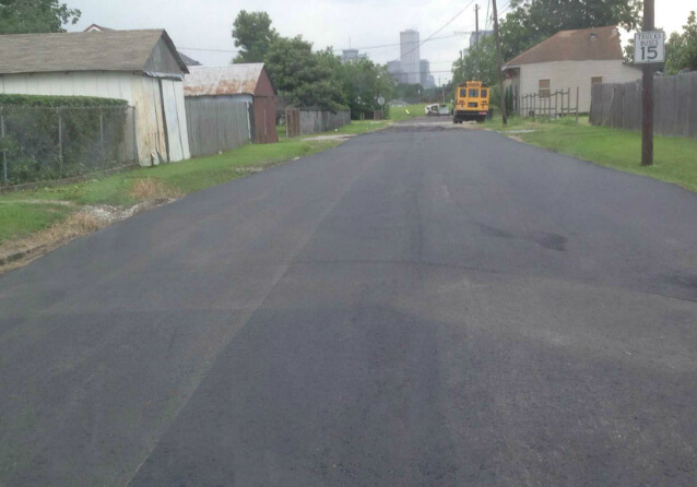 A resurfaced road
