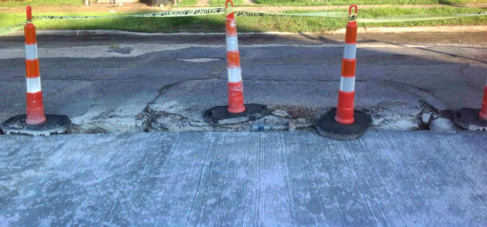 Damaged road panel pre demolition