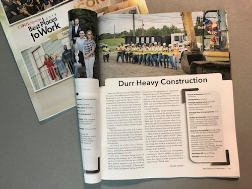Durr Heavy Construction featured in New Orleans CityBusiness Magazine
