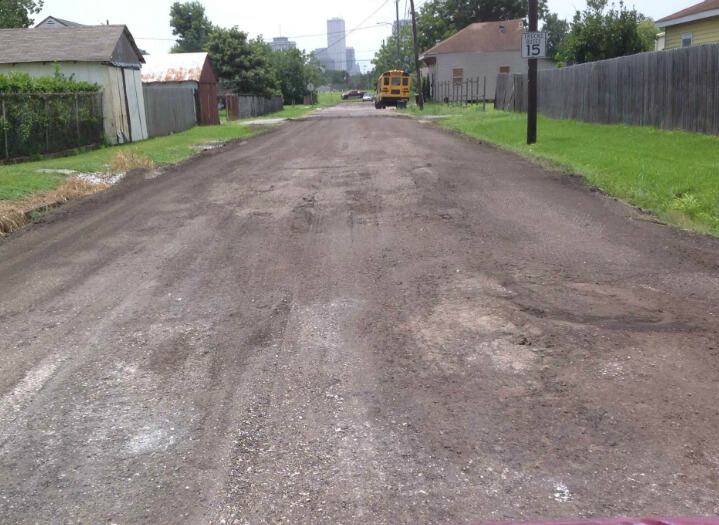 Road after removing damaged surface