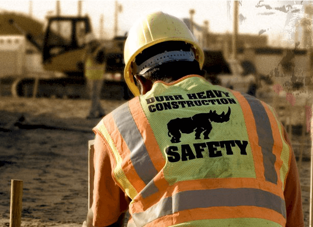 Worker wearing a safety vest