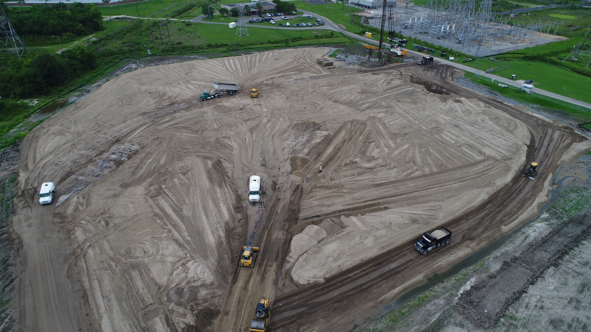 An aerial view of the Entergy project site